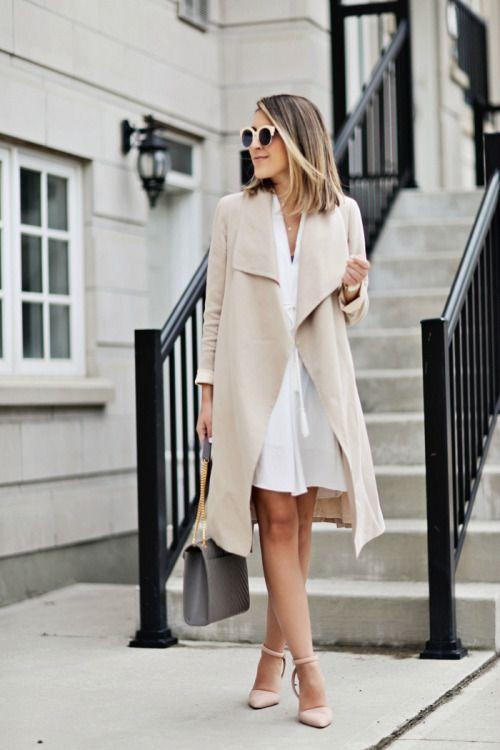 White dress & beige trench.