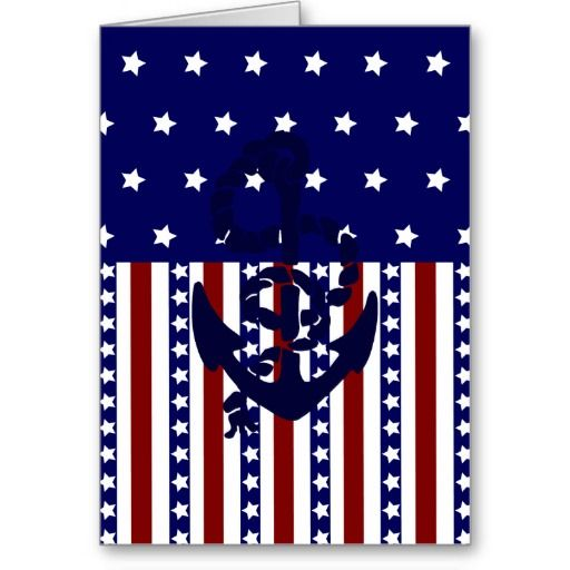 Patriotic Stars Stripes Anchor Sailor Pattern Greeting Card SOLD on Zazzle