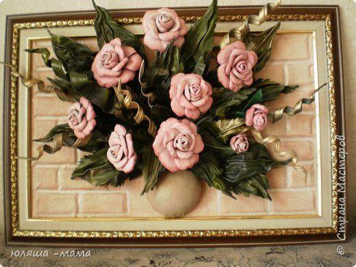 Картина панно рисунок Моделирование конструирование Картина из кожи Розы Кожа фото 1