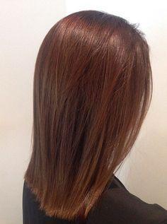 medium length straight chestnut hair