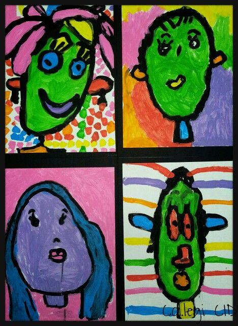 Autorretrat pop-art. Témpera sobre cartolina A3. 5 anys.