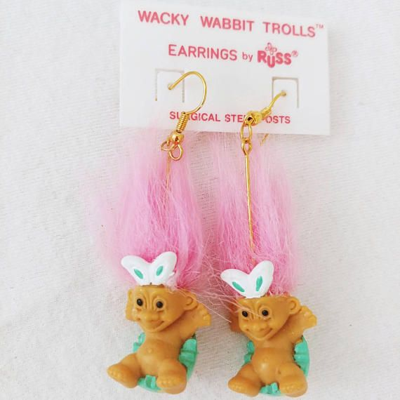 "NEW IN PACKAGE RABBIT EARRINGS EASTER WACKY WABBIT 2/"" Russ Troll Dolls"