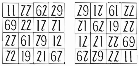 This reversible magic square comes from Henry Dudeney's Canterbury Puzzles. Each row, column, and diagonal in the square totals 179. Thanks to some clever calligraphy, this remains true when the square is turned upside down.