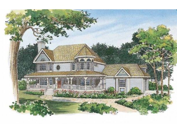 This victorian style exterior a wraparound porch mullion for Victorian house plans with turrets