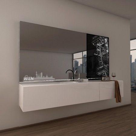 Simple Teil Lack Wandspiegel Wien stilisierte Silhouette LED Beleuchtung sch nes Ambiente Ma anfertigung teillackiert viele Extras Kaufen Sie