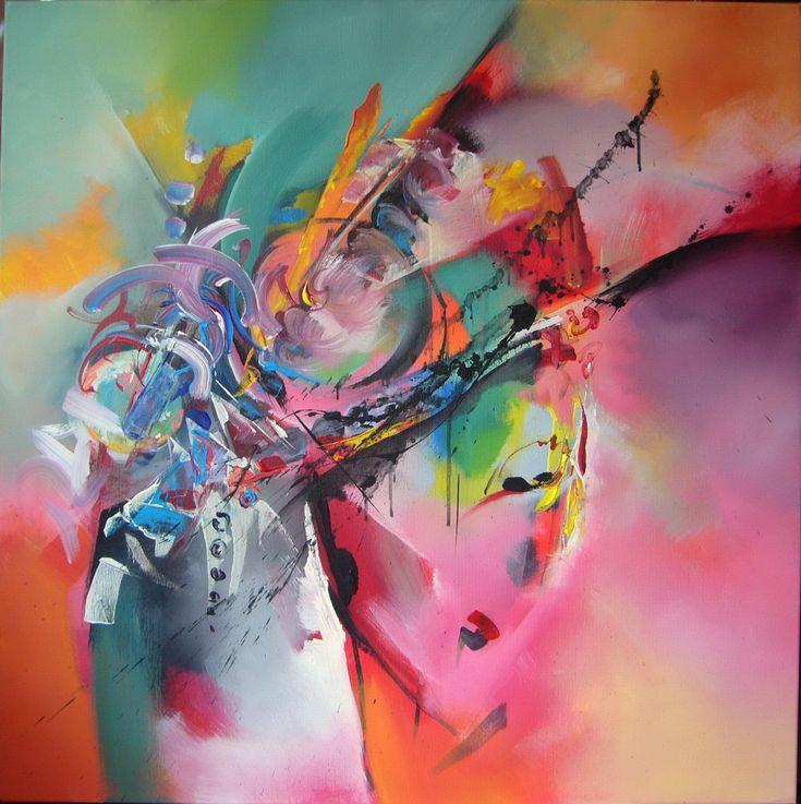 Composition- acrylic on canvas, 80/80 cm, 2017, Derecichei Simona Mihaela