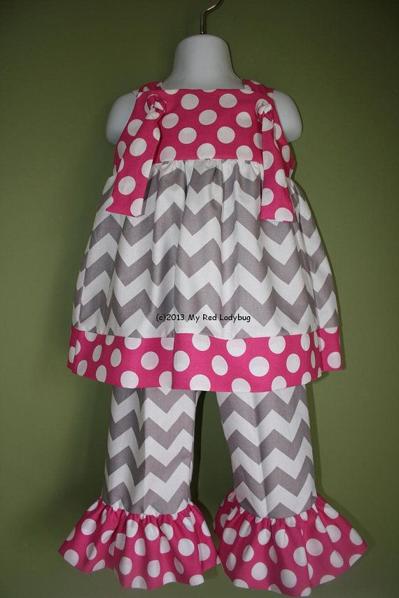 Grey and Hot Pink Chevron Outfit with Ruffle Pants or Capris on Etsy, $48.50