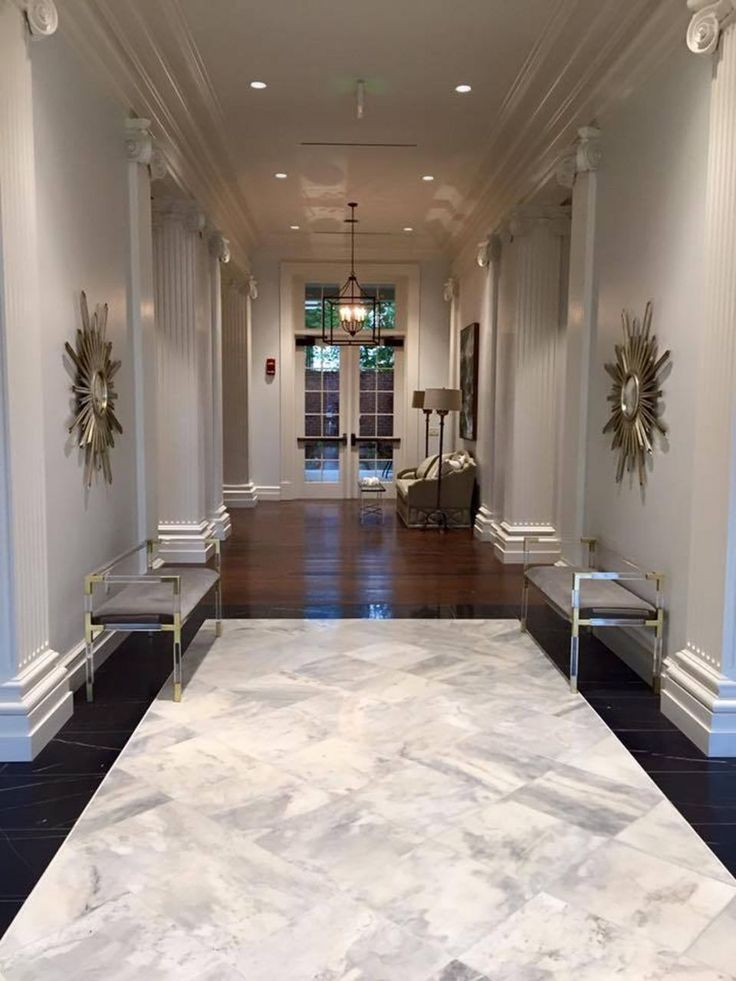 Here's a sneak peek at the glamorous new Kappa Delta house at the University of Alabama | AL.com  (where we used tile that appears to be marble but it's actually porcelain and so easy to clean, plus keeps the price down – and these days I can barely tell a difference between the real and fake)