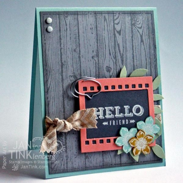 Peachy Keen Hello Friend Card by JanTInk - Cards and Paper Crafts at Splitcoaststampers