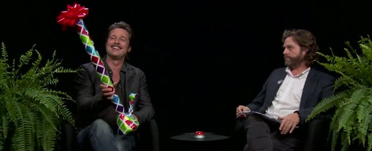 "On the latest episode of his web series, ""Between Two Ferns with Zach Galifianakis,"" the comedian interviews Brad Pitt. At one point, Galifianakis offers  him a gift he calls a bassoon, but sure looks like a bong."