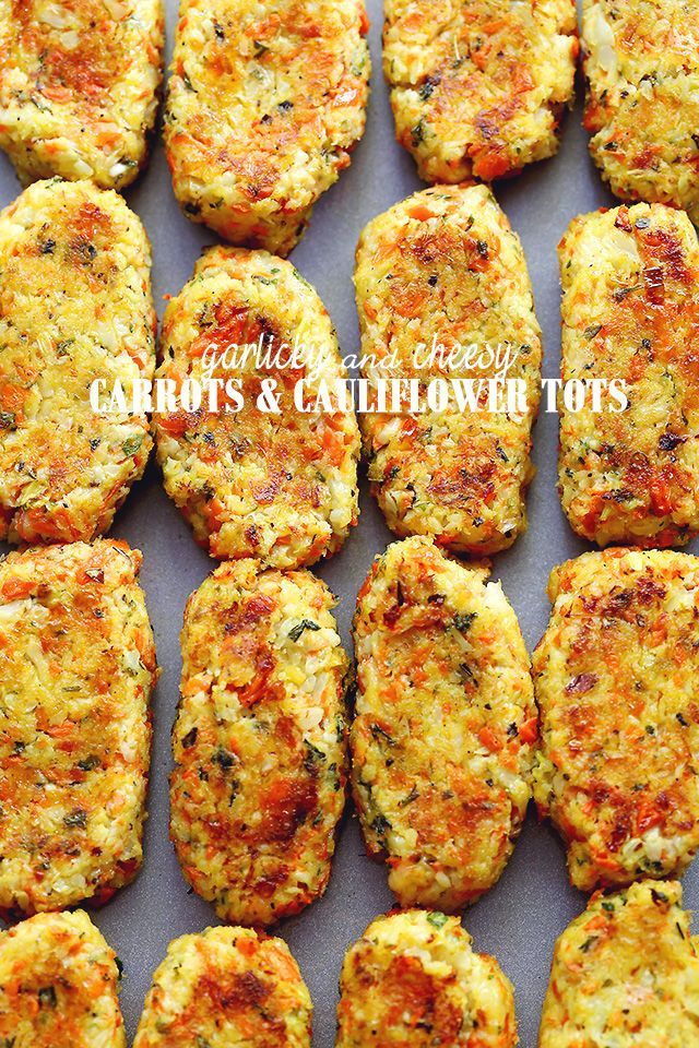 Garlicky and Cheesy Carrots and Cauliflower Tots