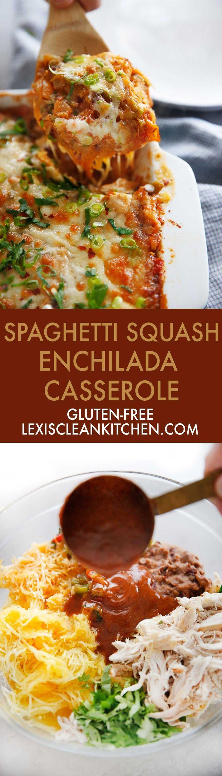 This Spaghetti Squash Enchilada Casserole with chicken is healthy, gluten-free, and paleo-friendly casserole! #spaghettisquash #casserole #easydinner #enchiladas #paleo