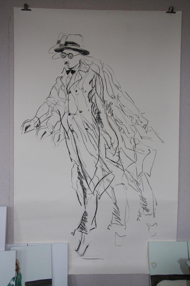 Fernando Pessoa, charcaol on paper, Esther Eggink