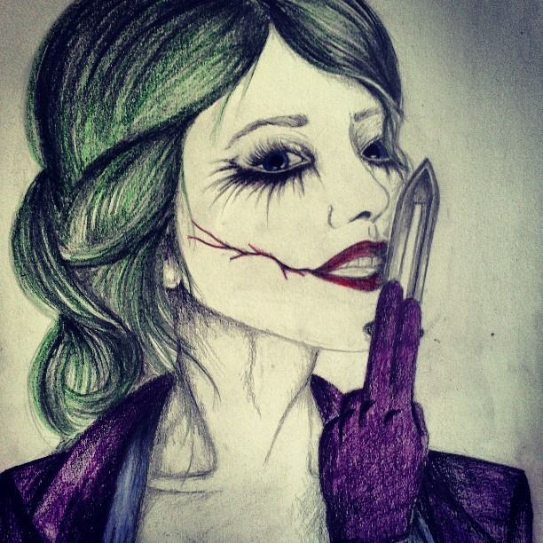 Joker Scribble Drawing : My drawing of the female joker dark knight dc comics