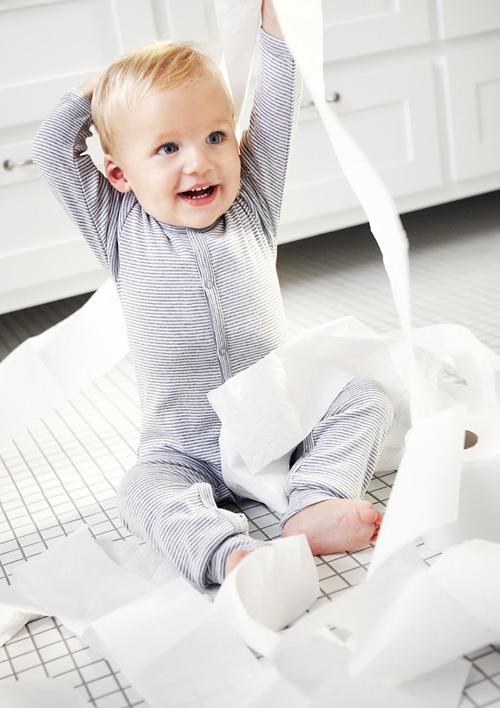 Joha Wool Baby Romper - Grey Stripe