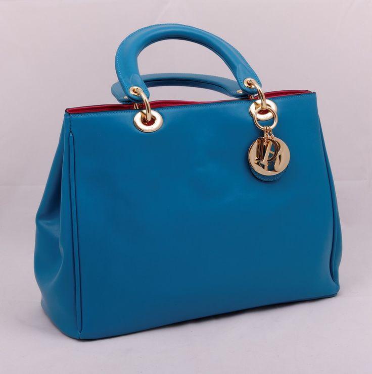 Кожаная сумка Dior Diorissimo Tote Bag бирюзового цвета