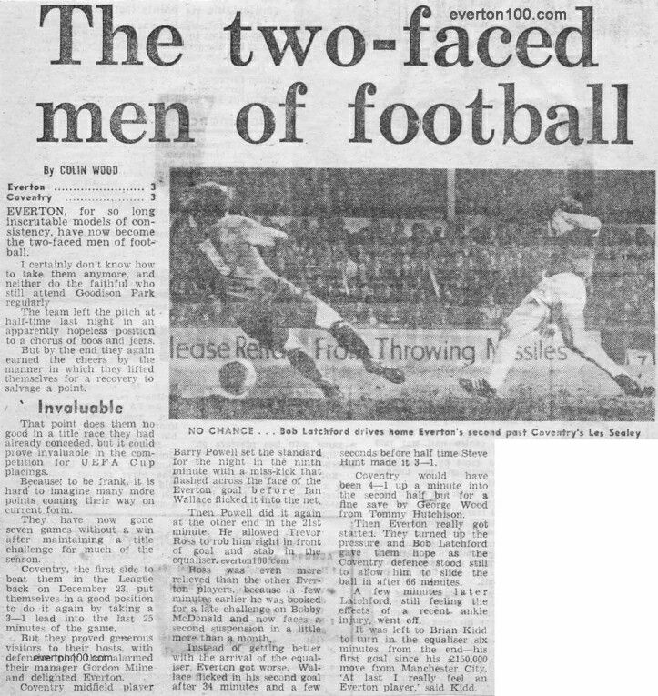 Everton 3 Coventry City 3 in April 1979 at Goodison Park. Report from a newspaper on the 1st Division thriller.