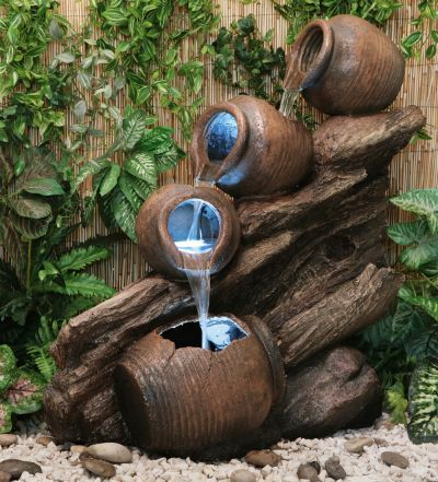 Four Tier Oil Jar Cascade Water Feature with Lights