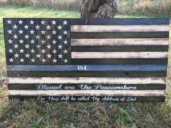 Thin Blue Line American Flag with Blessed are the Peacemakers verse.