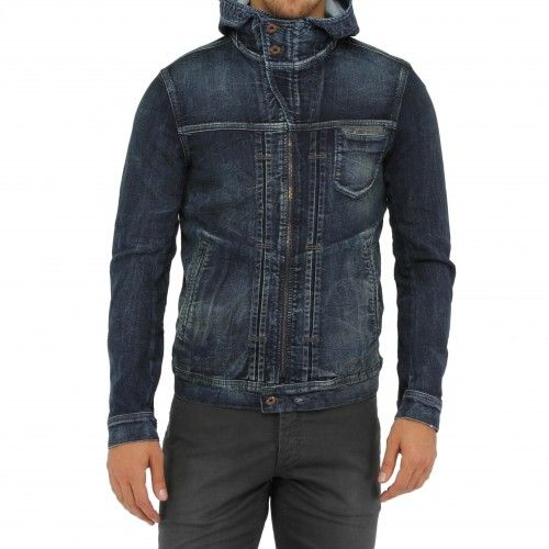 Diesel Juzikrib Ne Jog Jacket. This hooded denim jacket features a patch chest pocket, welt side pockets, and a full zip closure for a high collar. Crafted from hybrid denim: jersey+denim=joggjeans fabric, in a dark blue wash with subtle fades and...
