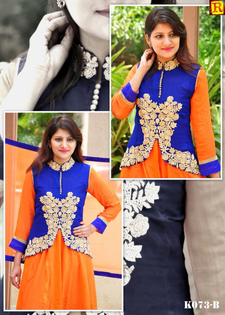 "Orange Long full suit with jacket in full hand work.  Available in size 34"" to 56"". To order what's app on +919840640665  Follow us on www.facebook.com/beigebliss"