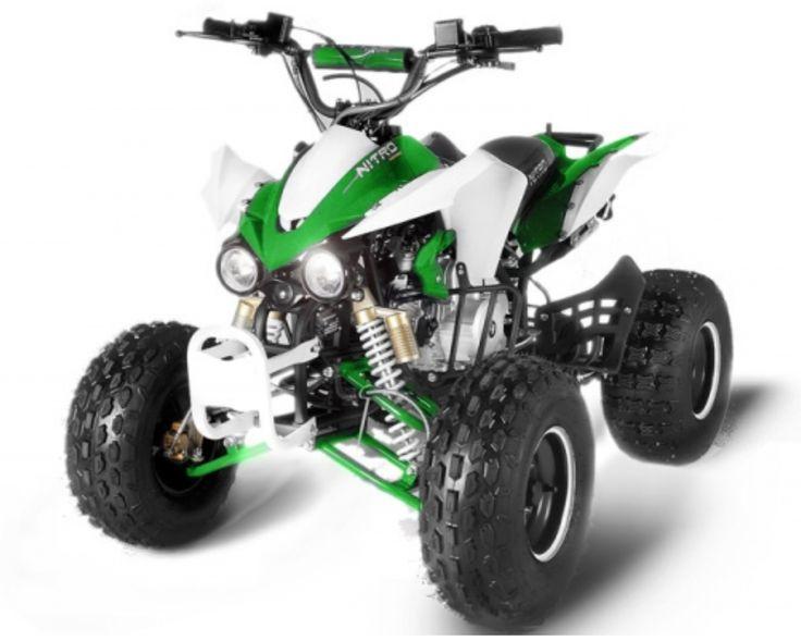 Le Quad Panthera 125cc 8 pouces version RS de couleur Blanc et Vert dispose d'un moteur 4T de 125cc. Le démarrage est tout éléctrique ! La boite de vitesse est semi-automatique avec une marche arrière et permet au mini quad enfant Panthera d'atteindre une vitesse max de 70 km/h (hors brigade).  Il est équipé d'un moteur 4 temps (SP 95) de 9 chevaux avec démarrage électrique au guidon, de freins à disques hydrauliques à l'avant et à l'arrière pour plus de sécurité.  Allumage CDI Boite de…