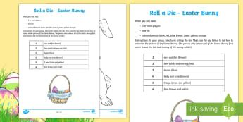 Roll a Dice Easter Bunny Colouring Page - Australia Easter Maths, easter, australia, mathematics, game, easter bunny, colouring, colouring pag