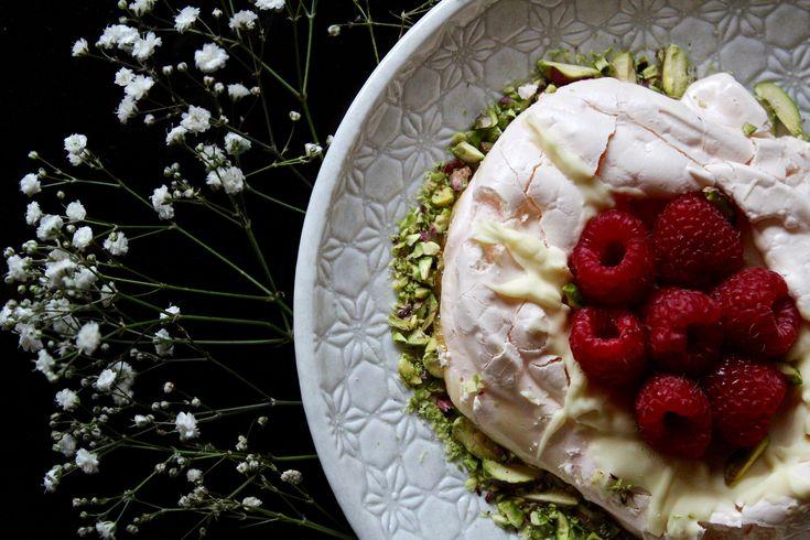 Gluten Free Rose Meringue Nests with Raspberries, Pistachios and White Chocolate | Wonderland Eats