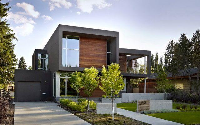 modern home exterior designs 94 Modern Home Exterior Ideas: With Wooden & Soft Grey