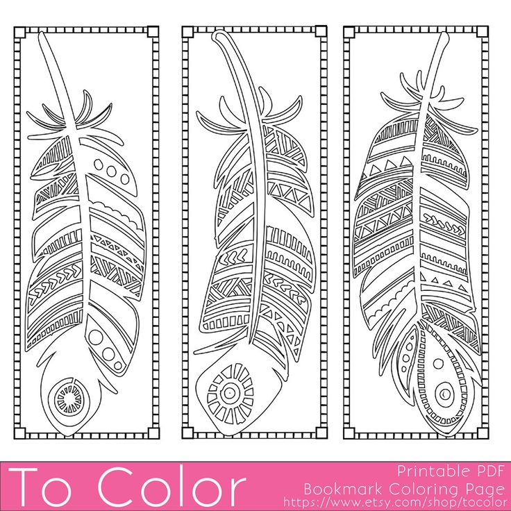 Three Feathers Bookmarks Coloring Page for Grown Ups - Instant Download - Disfrutes