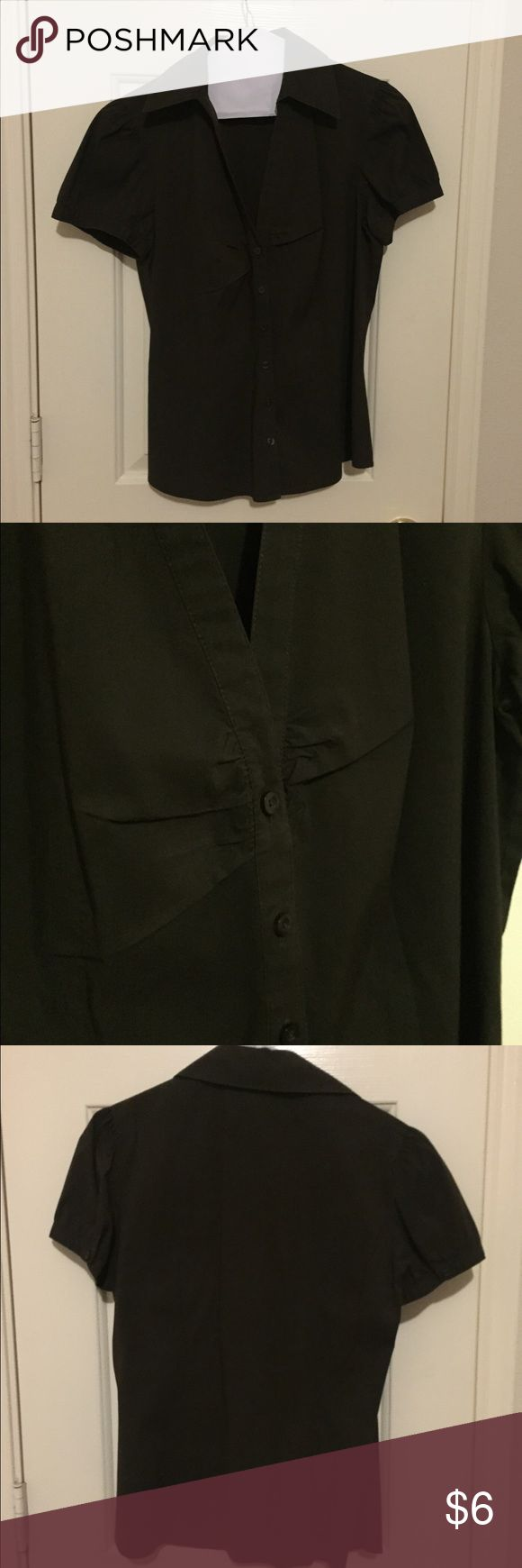 Ann Taylor Loft Dark Brown Button Up Dark brown in color, best light in first pic showing best color.  Button up front, dressy sleeve, gathering right at bust for flattering fit.  Also has darts in front and back for slimming, flattering, very tailored look!  Cute top! Size Small. 60% cotton, 35% polyester, 5% spandex for a stretchy fit! Ann Taylor Tops Button Down Shirts