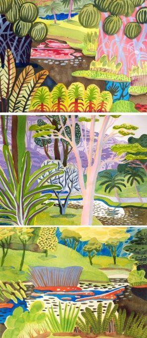Tropical landscapes by Jennifer Tyers. http://www.artisticmoods.com/jennifer-tyers/