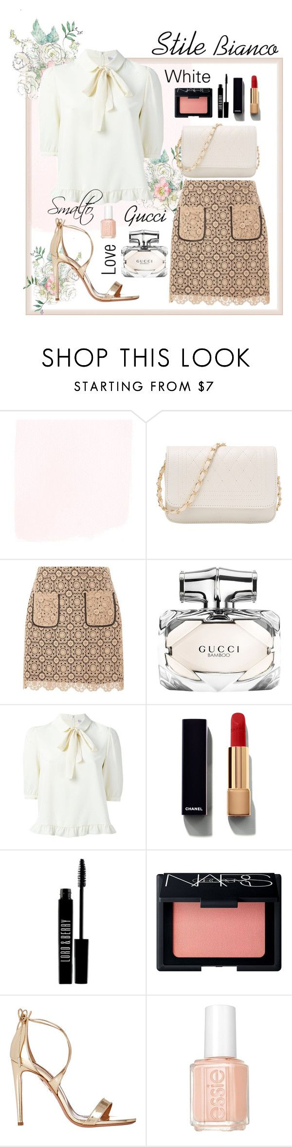 """Stile Bianco"" by jasmeenjk ❤ liked on Polyvore featuring Dorothy Perkins, Gucci, Chanel, Lord & Berry, NARS Cosmetics, Aquazzura and Essie"