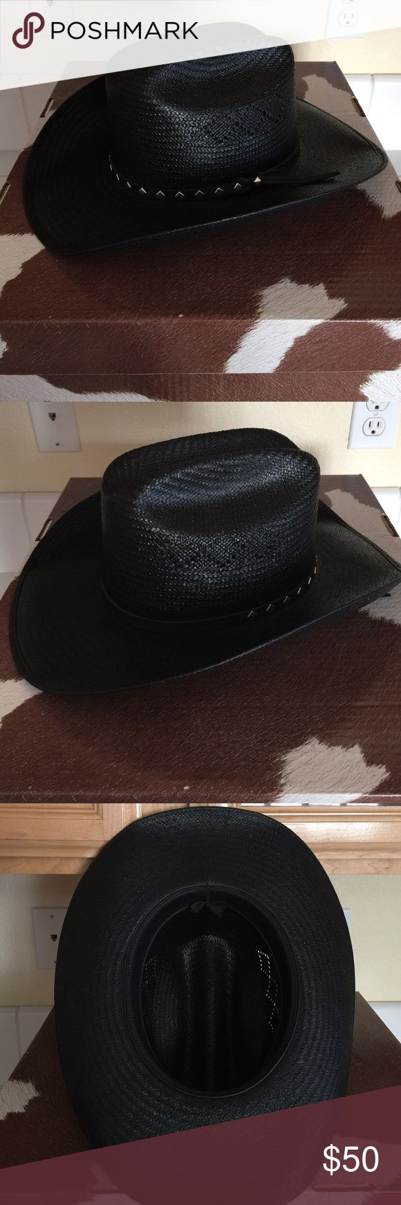 Resistol cowboy hat. Resistol brand black cowboy hat. Molded high quality straw had with braided leather band, and silver stud accents. Very good pre owned condition. Comes with brand box, with molded hat rest. Resistol Accessories Hats