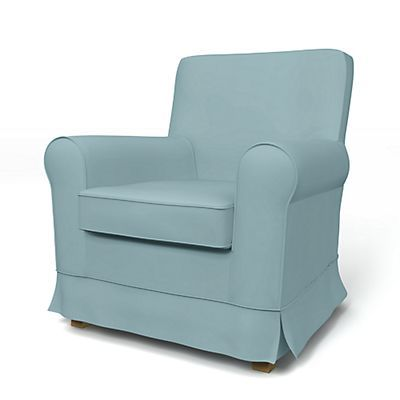 w/ piping Mineral Blue: Jennylund Armchair cover - Armchair Covers | Bemz