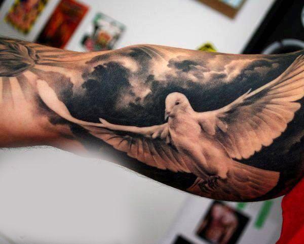3D White Dove Tattoo Male Inner Biceps