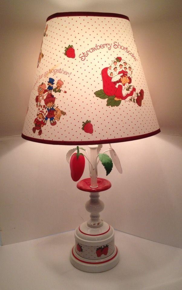 "Vintage 1980 Strawberry Shortcake Table Lamp 23"" Shade American Greetings Co."