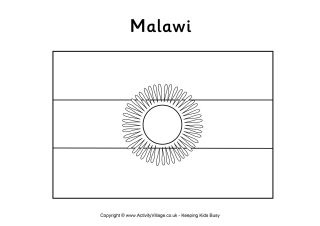 Malawi flag colouring page