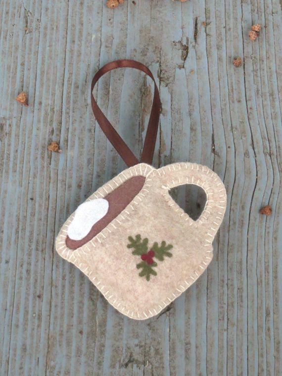 Felt Ornament Cup of Hot Chocolate by AmandasCraftyNiche on Etsy