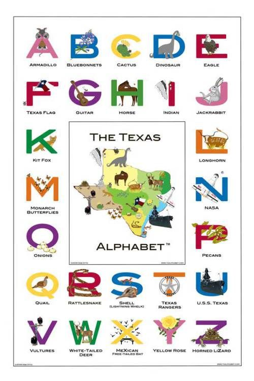 The TexanAlphabet  - September 15, 2009 by Johnny Alamo  -  And, yes, this is an ACTUAL teaching aid available for use in Texas schools.  And you can buy your own through these fine Texas entrepreneurs - The Texas Alphabet Store.