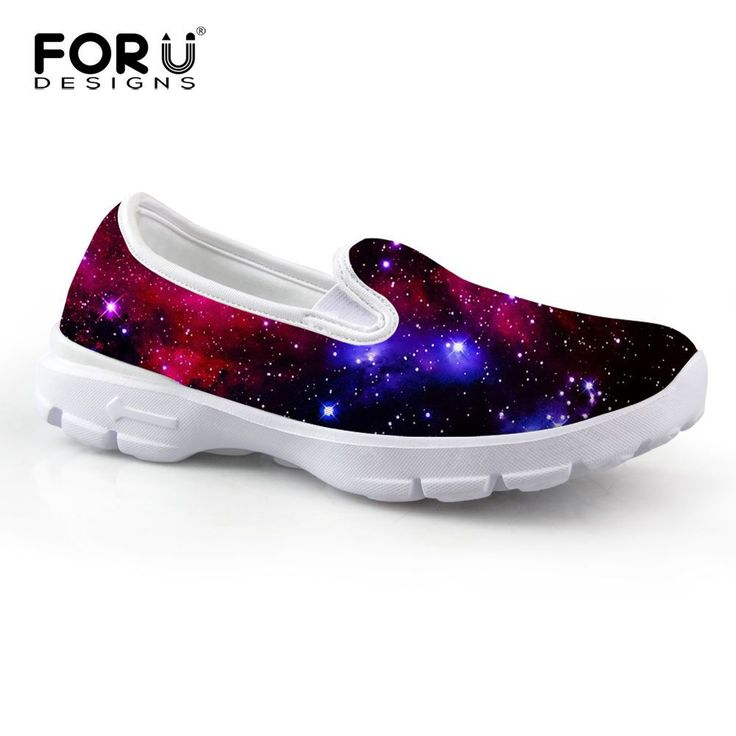 Design Woman Casual Slip-On Shoes Girl Sports Loafer Galaxy Printed Sneakers