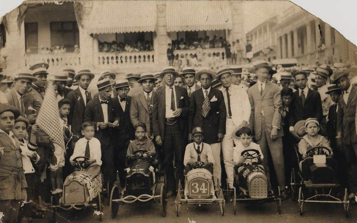 Soap Box Derby. a young Desi Arnez, 2nd from left in white shirt, 1925 or 26