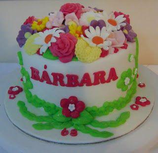 FLOWER CAKE DESIGNER: Bolo de aniversário Senhora!