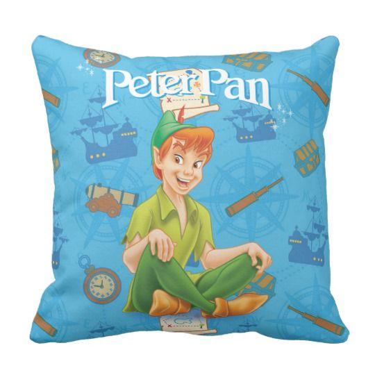 Peter Pan Sitting Down Throw Pillow #ad