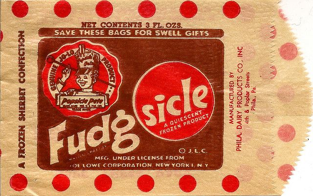 Vintage Fudgsicle bag  My mother and I loved these and ate them often when I was little.  They don't make them like that any longer, but I will say I have tried the Wal-Mart brand fudge bar and they are the closest to the real thing I have found in years.