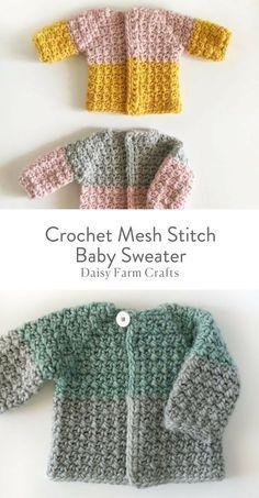 Free Pattern - Crochet Mesh Stitch Baby Sweater