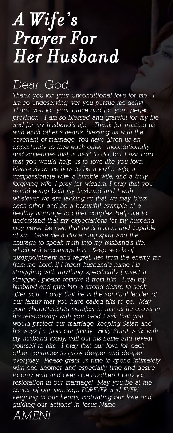 A Wife's Prayer For Her Husband ---
