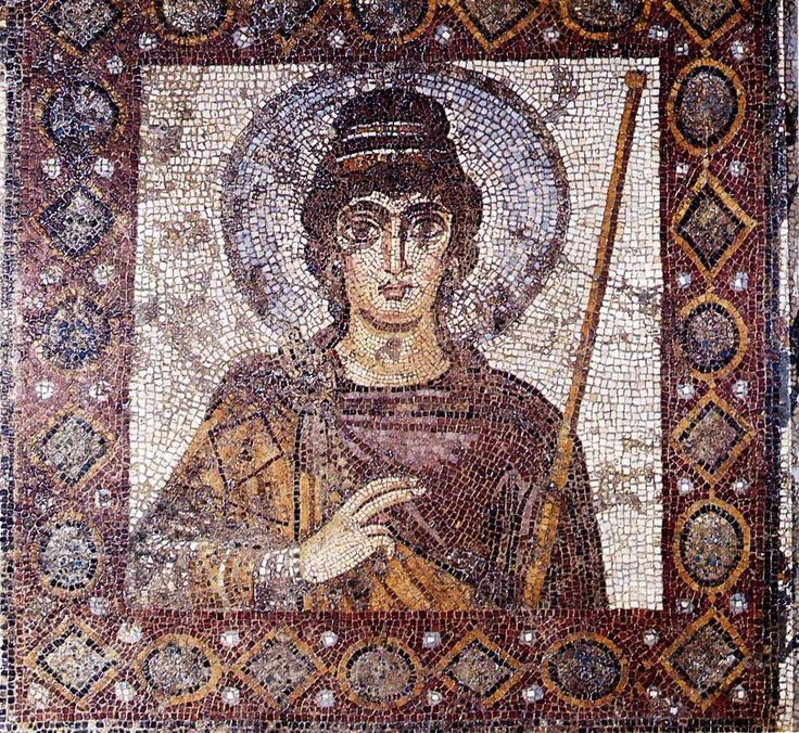 """La Dame de Carthage, Carthage National Museum (Tunisia). The famous """"Lady of Carthage"""" mosaic dated back probably to the 6th century, is traditionally regarded as a portrait of a Byzantine emperor. The technique of alternating mosaic tiles and glass tiles, the fineness of the design and elegance of the subject make it a major piece of art mosaic from the Late Antiquity."""