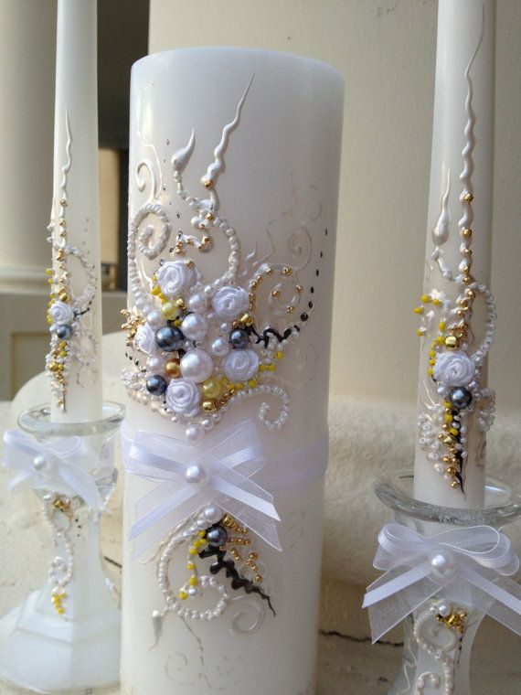 Elegant Wedding unity candle set in white, grey, gold and yellow, wedding unity ceremony, wedding candles  Click here to see more wedding designs: www.etsy.com/shop/PureBeautyArt