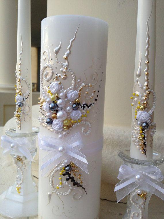Elegant Wedding Unity Candle Set In White Grey Gold And Yellow Wedding Unity Ceremony